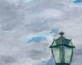 Lamp Post and Cloudy Sky Oil Painting Print, 8x10, 5x7