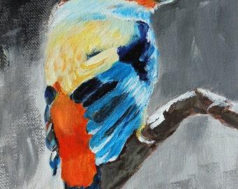 Original-Birds art, animal art, nature art, little bird art, acrylic original, colorful art, birds lovers art, romantic art, calming art