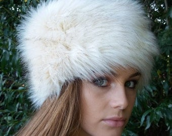 Cream Faux Fur Hat with Black Tips Russian Style with Cosy Polar Fleece Lining