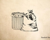 Trash and Garbage Rubber Stamp - 2 x 2 inches