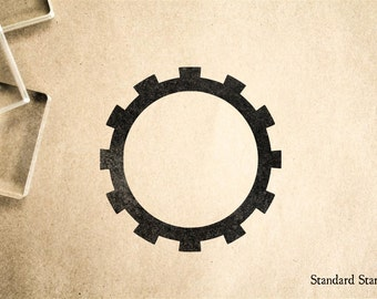 Gear Frame Rubber Stamp - 2 x 2 inches