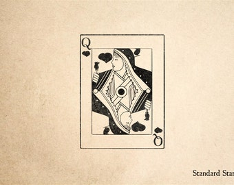 Queen of Hearts Rubber Stamp - 2 x 3 inches