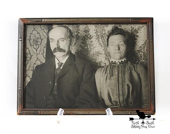 Vintage Framed Early 1900's Photo of a Mature Couple, Late Victorian Era Photo, Nostalgic Home Décor, Shabby Wall Decor