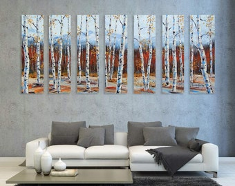"Palette Knife Painting, Birch Tree Art, Tree Painting, Birch Trees, Tree Art, 84"", Birch Tree Art, MADE to ORDER, Large Painting, Landscape"