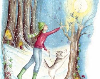 Small Art Print, 5 x 7, Faerie Print, Fairy Art, Snow, Fairy house, Christmas, Snow Scene, Winter, Fall, Yuletide, Fairyland, Children's Art
