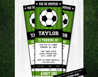 Soccer Invitations - Soccer Ticket Invitation - Soccer Party - Soccer Birthday Invitation - INSTANT DOWNLOAD - Edit with Adobe Reader NOW!