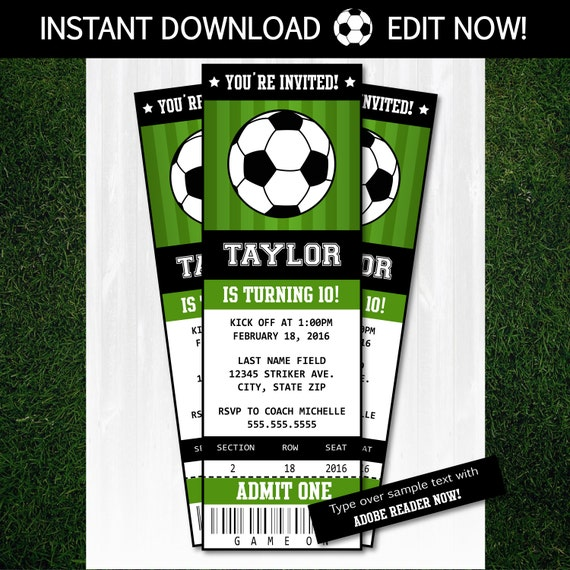 sports ticket template free download - soccer invitations soccer ticket invitation soccer party