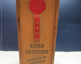 Vintage Lord Calvert Wood Whiskey Box