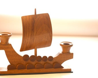 Vintage wooden Viking boat shaped candle holder, candlesick, candlestand, candeliere, gift, home accessories, table decoration from 1970s