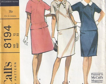 1966 McCalls 8194 Misses' Two-Piece Dress  Pattern in Three Versions, Size 12