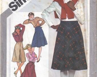 """1981 Simplicity 5186, Teen/Junior Set of Skirt Patterns, Size 11/12, Waist 25"""""""