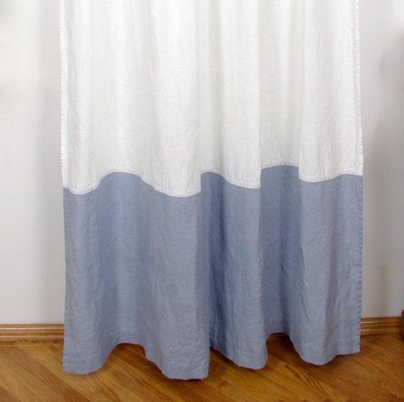Color Block Curtain Window Drapery Panel Linen Curtain