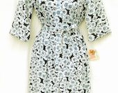 Vtg 60s Daisy Print Shirtdress Zip Front Floral Cotton Retro Clothing Day Dress  M 8 Deadstock 50s Nancy Frock