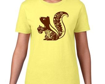 Cute Squirrel TShirt, Cute Animal T Shirt, Whimsical Squirrel T Shirt,  Forest Animal