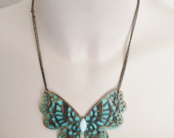 Necklace - very large turquoise blue butterfly necklace