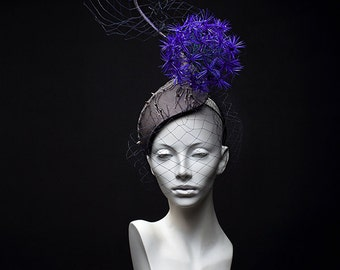 """Couture headpiece """"Metamorphosis"""". Feathers fascinator. Coctail hat. Derby hat. Headpiece with veil. Blue hat."""