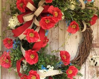 Large summer wreath, Summer wreaths for font door., Americana Wreath,Spring wreaths for sale,Fourth of July Wreath, USA Wreath,Summer Wreath