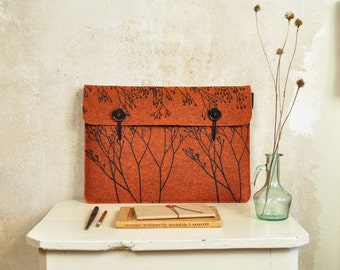 "Macbook case 15"" - orange laptop sleeve in Felt with Wild Plant Pattern - original screenprinted cover 15 in"