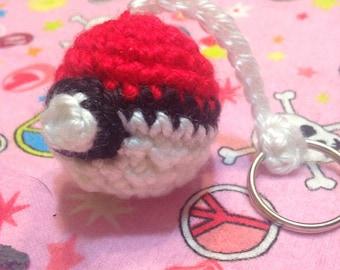 Pokemon pokeball inspired crocheted keychain