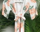Children's Flower Girl Robe - Kimono Robe - Hydrangea APRICOT