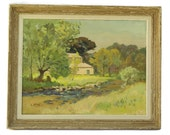 French Farmhouse Painting. Antique Oil Painting On Canvas. Country Landscape Painting. Country Cottage Décor. Original Art.