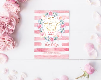 Sip and See our Sweet Baby Girl Shower Invitations - Floral Boho Pink and Gold Watercolor Printable Invitation - Instant Download