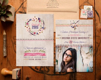 Graduation Announcements - Tribal and Rustic Graduation Announcements - Floral & Feminine College or High School Grad Cards - Printable DIY