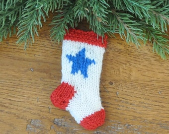 Blue Star Family Christmas Stocking Ornament