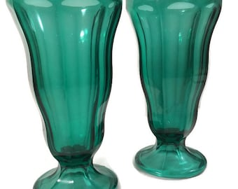 Vintage Anchor Hocking Parfait Glasses - Midcentury Green Parfait Glass - Green Sundae Glass