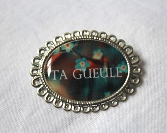 """PIN lace resin """"TA GUEULE"""" - forget-me-not"""