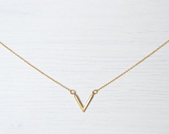 """Dainty """"V"""" Matte Gold-Plated Necklace // dainty goldnecklace // tiny necklace // gold plated necklace / minimal necklace / layering necklace"""