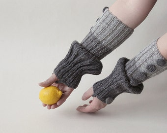 hand-knitted hand warmers/arm warmers/ long fingerless gloves/dark grey-grey-light grey color/made from wool