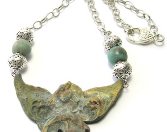 Green/Blue Equine Art Bead Necklace - Raku Horse Necklace - Handmade Necklaces - Pegasus the Winged Horse
