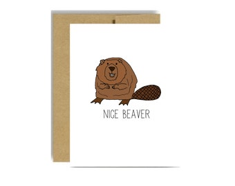 Nice beaver funny valentines day card - for a woman girlfriend wife kraft brown love naughty greeting