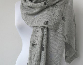 30% OFF SALE - Gray Knit Scarf - Soft Scarf - Mesh Scarf - Extra Long Scarf     887