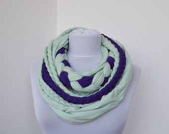 Mint & Purple Loop Scarf - Infinity Jersey Scarf - Partially braided Circle Scarf - Scarf Nekclace
