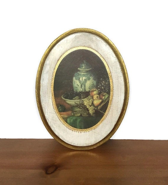 Vintage Italian florentine wall plaque painted wood gold gilt picture