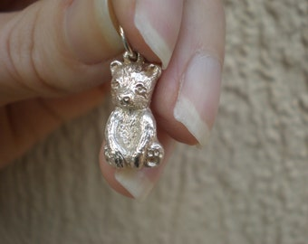 Tiny Bear Charm/ Pendant in Sterling Silver