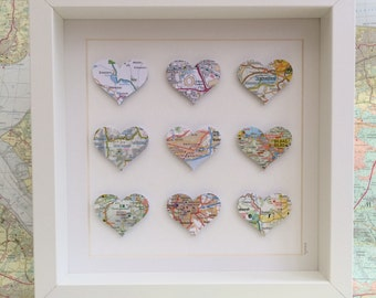Map wall art - custom map art - paper anniversary - wedding gift - personalised map art - paper heart frame - paper heart art -  9 map heart