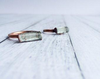 Raw aquamarine ring | Pale blue aquamarine ring | Aquamarine birthstone ring | March Birthstone crystal jewelry | Aquamarine crystal ring