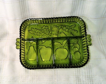 Avocado Green Glass Divided Serving Tray or Platter with Fruit Design - Sectional Relish, Condiment Dish with Handles - Indiana Glass