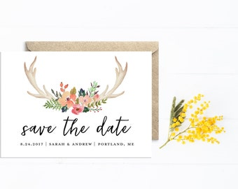 Save The Date, Boho Wedding with Antlers and Flowers, Watercolor