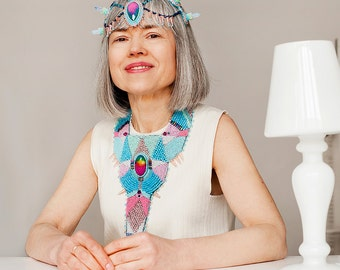 Head jewelry - couture headband - spike headband - pastel blue hair accessories - futuristic fashion - costume accessories - opal jewelry