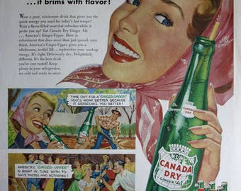 1954 ad Canada Dry Ginger Ale Super Happy Woman Smiling Retro Kitchen Art Vintage Print AD ETK303