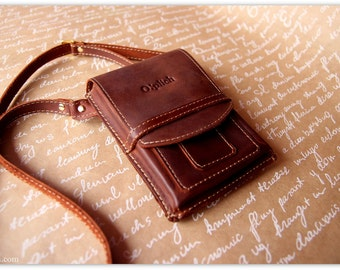 iPhone 6 Crossbody Leather Wallet  /  iPhone 6 plus, iPhone 5S wallet with neck strap / 4 Card Pockets / Cognac Brown / Personalization