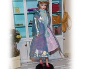 """4 Pc's """"1960's Barely There"""" Translucent Blue Coat, Pink  Dress, Blue Hat & Scarf. Handmade Silkstone, Vintage and Modern  Barbie Clothes."""