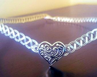 Silver celtic Tiara wedding heart circlet medieval elven headpiece