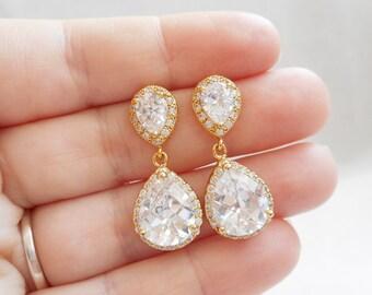 Gold Cubic Zirconia Bridal Earrings Gold CZ Teardrop Bridal Earrings Gold Crystal Bridal Earrings CZ Bridal Earrings Free US Shipping