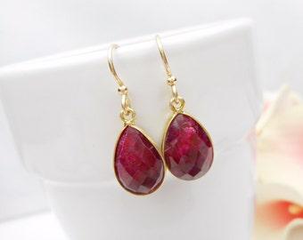 Gold Vermeil Ruby Teardrop Earrings Gold Ruby Earrings Natural Ruby Earrings Natural Red Gemstone Earrings July Birthstone FREE US Shipping