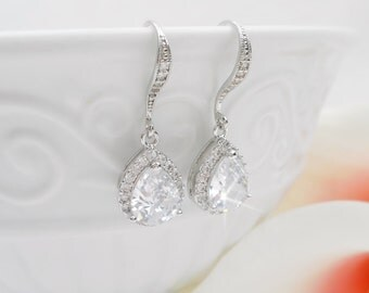 FREE United States Shipping Cubic Zirconia Teardrop Bridal Earrings Crystal Teardrop Bridal Earrings Cubic Zirconia Bridal Jewelry